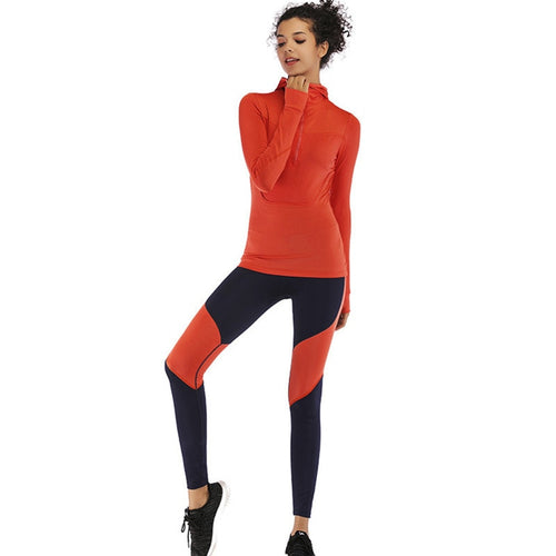 Women Quick Drying Fitness Suit: Hoodie Top Tight Sport Leggings Patchwork Yoga Set for the Gym, Outdoors, and  Running Sportswear