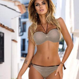 2019 Sexy Snake Skin Splicing Backless Bandage Push Up Bikini Set
