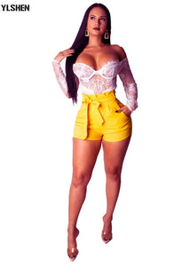 Sexy Fashion High Waist with Sashes Short Pants Plus Size Women Summer Shorts Vintage Active Wear