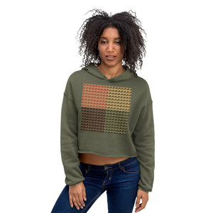 Multi-color Mind Of Kye Logo Pattern front Crop Hoodie