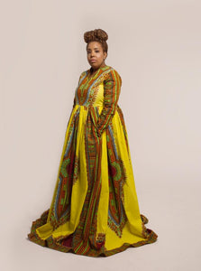 Plus size Yellow Dashiki Dress