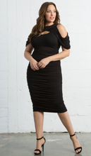 Cold Shoulder Rouched Midi