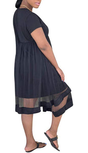 Asymmetrical Mesh Trim  Dress