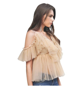Tiered Chiffon Lace -Up
