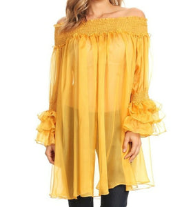 Sheer Ruffle Sleeve Tunic