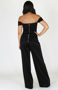 Curvy Style 2 Pc Cut Out Top & Wide Leg Pant
