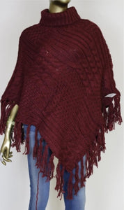 Cable Fringe Poncho ( More Colors)