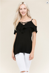 V Ruffle Cold Shoulder