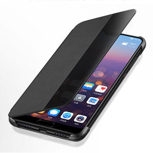 ProElite PU Leather+Hard PC Window View Smart Flip Case for Huawei P10 P20 Pro Mate 20 Lite Sleep Wake UP Function Phone Cover - Expressdeal.net