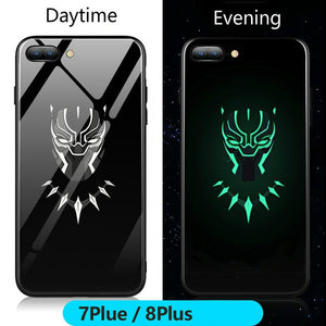 Marvel Batman Superman Spiderman Luminous Glass Case For iphone 7 8 6 6s Plus X Xs Max Xr Avengers Black Panther iron Man Cover - Black Panther / For iPhone 6 6s - Black Panther / For 6plus 6splus - Black Panther / For iPhone 7 - Black Panther / For iPhone 7 plus - Black Panther / For iPhone 8 - Black Panther / For iPhone 8 plus - Black Panther / For iPhone X - Black Panther / For iphone Xs - Black Panther / For iphone Xs Max - Black Panther / For iphone Xr