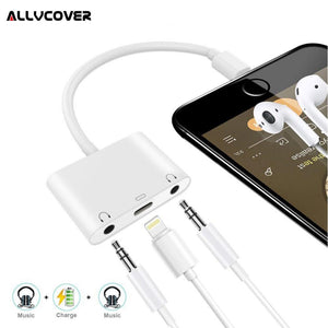 Audio Charger Adapter For Apple Lightning to 3.5mm Double Headphone Jack Adapter Couples Splitter - Expressdeal.net
