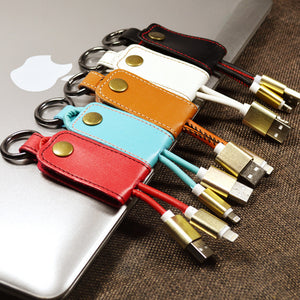 Mini portable  Leather Lanyard Metal Keychain 2A fast Charger micro usb data Cable - Expressdeal.net