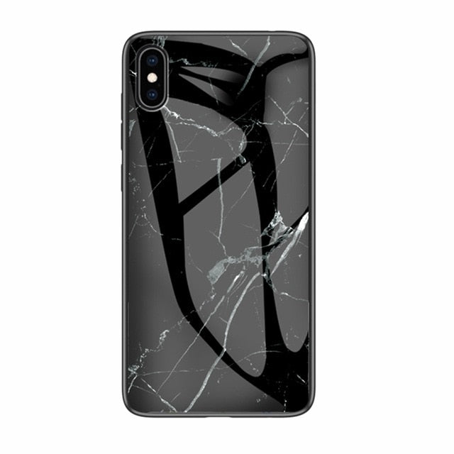 Luxury Marble Phone Case for iPhone X Xs Max Glass PC pigeo - Expressdeal.net