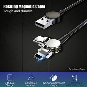 Magnetic USB Type C Cable Data Sync Nylon Braided LED Indicator - Expressdeal.net