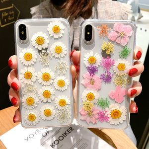 Real Pressed Dried Flowers Phone Case For iPhone XS Max XR 6 6s 7 8 Plus X Silicon TPU Clear Floral Cover Cases Fundas