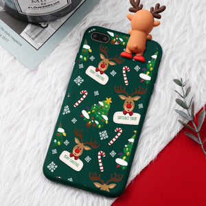 Christmas Cartoon Deer Case For iPhone XR 11 Pro XS Max X 5 5S Silicone Matte Cover For iphone 7 8 6 S 6S Plus 7Plus Case Bear - Expressdeal.net
