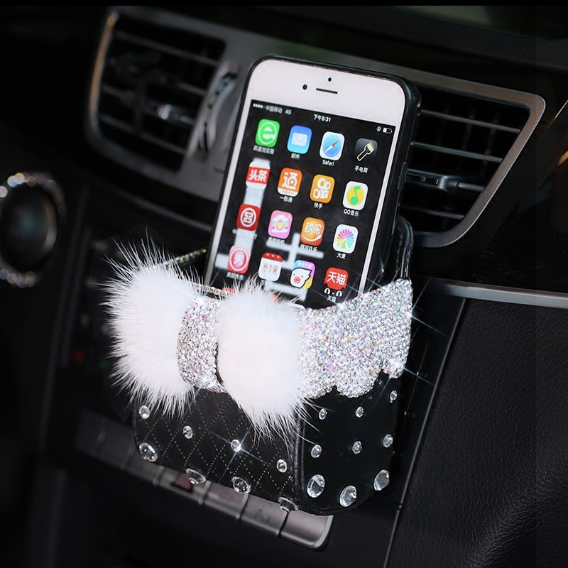 Leather Portable Car Storage Box Crystal Rhinestones Auto Outlet Air Vent Cosmetics Case Universal Mobile Phone Bag Pouch Bucket - Expressdeal.net
