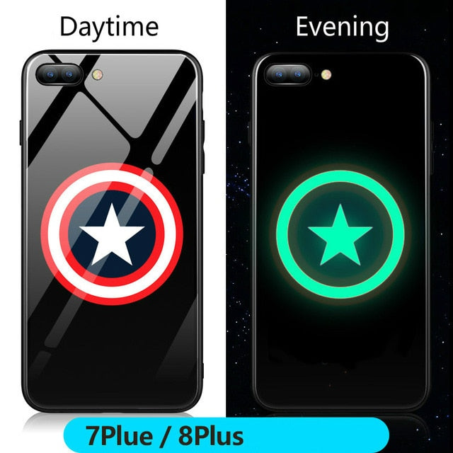 Marvel Batman Superman Spiderman Luminous Glass Case For iphone 7 8 6 6s Plus X Xs Max Xr Avengers Black Panther iron Man Cover - Captain / For iPhone 6 6s - Captain / For 6plus 6splus - Captain / For iPhone 7 - Captain / For iPhone 7 plus - Captain / For iPhone 8 - Captain / For iPhone 8 plus - Captain / For iPhone X - Captain / For iphone Xs - Captain / For iphone Xs Max - Captain / For iphone Xr