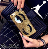 3D big eye eyelashes Plating phone Case for iPhone 6 6s 7 8 plus 10 X cover - Expressdeal.net