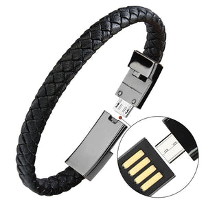 Portable Leather Mini Micro USB Bracelet Charger Data Charging Cable Sync Cord For iPhone6 6s Android Type-C Phone Cable - Expressdeal.net