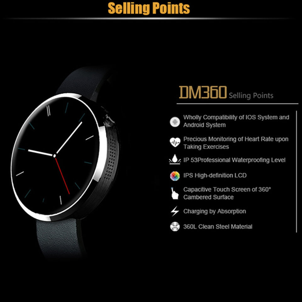Beseneur DM360 Smart Watch Heart Rate Monitor Pedometer Sports Watches For Android IOS Wearable Devices Smartwatch for Men Women - Expressdeal.net