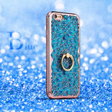 for iPhone X Xs Max XR Case Luxury 3D Soft Ring Capa for iPhone 5 5S SE 6 S 7 8 Plus Ring Silicon Glitter Rhinestone Stand Cover - Expressdeal.net
