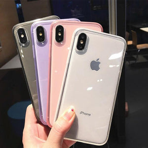 Anti shock Non slip Plain Cases For iPhone XS Max XR XS X 6 6s 7 8 Plus Hot Clear Transparent Soft TPU Phone Back Cover