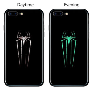Marvel Batman Superman Spiderman Luminous Glass Case For iphone 7 8 6 6s Plus X Xs Max Xr Avengers Black Panther iron Man Cover