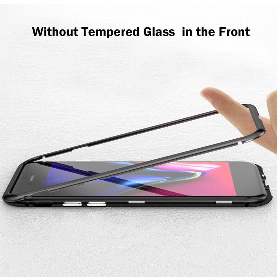 Metal Magnetic Case For iPhone XR XS MAX X 8 Plus 7 10 Tempered Glass Back Magnet Cases Cover For iPhone 7 6 6S Plus Case - Expressdeal.net