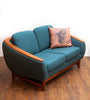 Mid Century TEAK Love Seat, Reupholstered in Wool, by R. Huber