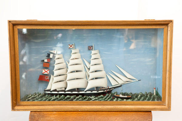 Amazing Antique 3D Ship Diorama, Incredible and Whimsical!