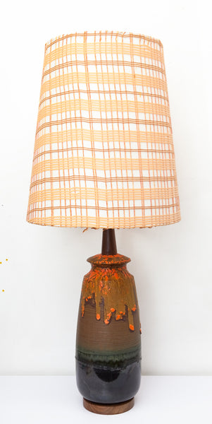 Unique Tiki-Style Ceramic Lamp with Interesting Drip Glaze & Original Shade