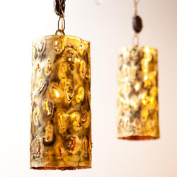 Awesome Brutalist Hand Made Brass Pendant Lamps