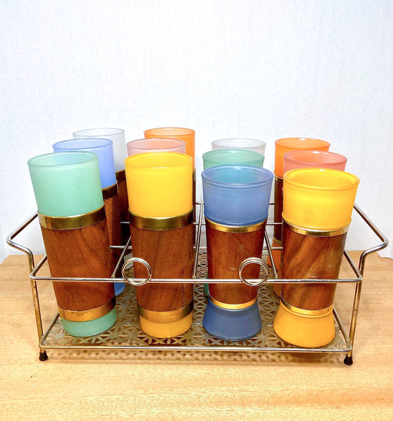 Fabulous Set of 12 Vintage Siesta Ware Glasses with Caddy