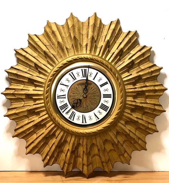 Vintage Gold Starburst Clock by Phinney Walker