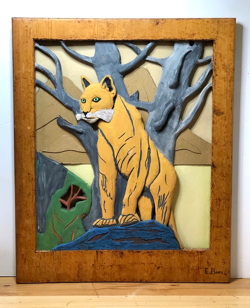 Unique Vintage Mountain Lion Folk Art, Signed