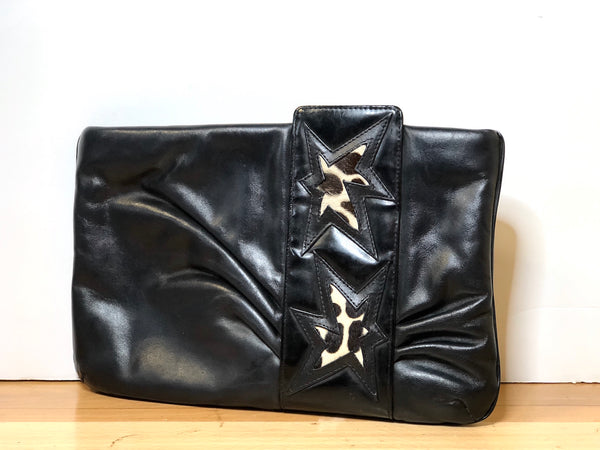 1980s Leather Hand Bag with Star Design