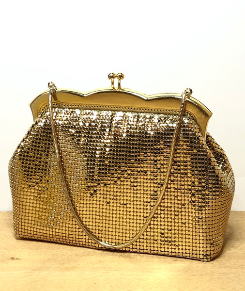 Fabulous Whiting & Davis Gold Chainmail Hand Bag
