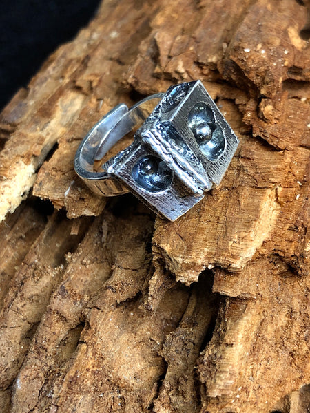Vintage Karl Laine Brutalist Style Ring, Unique Abstract Design
