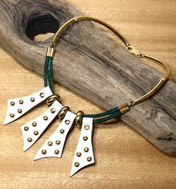 Funky 1980s Wilma Spagli Leather and Metal Necklace