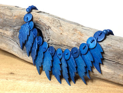 Stunning 1970s Blue Dyed Wood Necklace with Leaves