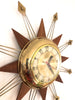 Vintage Starburst Clock with Teak and Brass Points