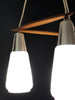 Beautiful 3-Light Teak and Milk Glass Chandelier/Pendant Light