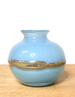 Sweet Vintage Sky Blue Glass Vase with Metallic Band