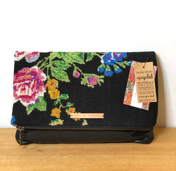 Ruth + Nelly Fold Over Sparkle Needlepoint Purse