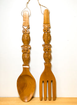 Charmingly Kitschy Oversized Fork & Spoon, Hand Carved Wood