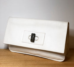 Beautiful Vintage White Leather Italian Clutch, Extra Large