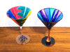 Funky Pair of Hand Painted Martini Glasses, 1980s Designs