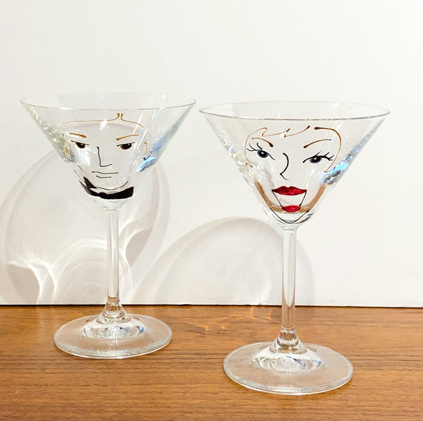 Super Cool Pair of Martini Glasses, Hand Painted, 1980s Faces