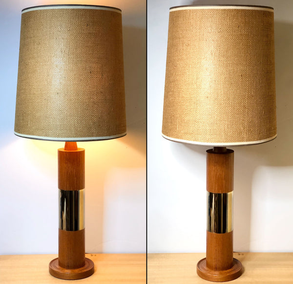 Matching Pair of 1960s Teak and Brass Lamps with Burlap Shades